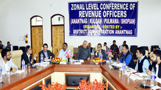 Revenue Minister Abdul Rehman Veeri chairing a meeting in Anantnag on Saturday.