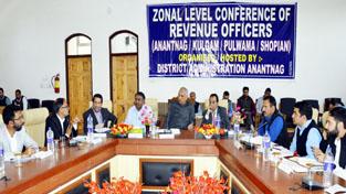 Revenue Minister Abdul Rehman Veeri chairing a meeting in Anantnag on Saturday.