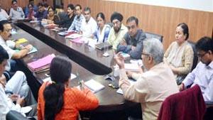 Divisional Commissioner Jammu Dr M K Bhandari chairing a meeting at Jammu on Saturday.
