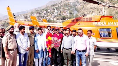 MLA Shakti Raj Parihar inaugurating Jammu-Doda chopper service.