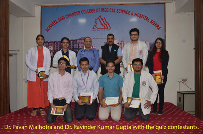 First four winners of zonal level IAP quiz posing with their certificates and mementoes at ASCOMS & Hospital in Jammu.