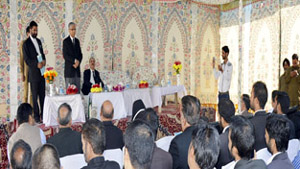Chief Justice, Badar Durrez Ahmed interacting with judicial officers and lawyers at Anantnag on Saturday.