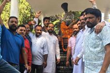 Yuva Rajput Sabha members paying tributes to Maharaja Gulab Singh on Tuesday.