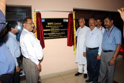 MP(RS), Shamsher Singh Manhas inaugurating Solar Power Plant at NHPC, Regional Office, Jammu on Monday.