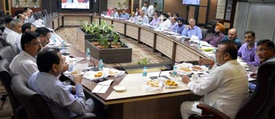 Minister for Industries & Commerce, Chander Parkash Ganga chairing a meeting at Jammu.