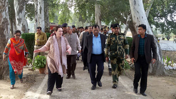 MHA delegation during tour of border areas in RS Pura on Friday.