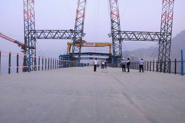 A file photo of world's highest railway bridge being constructed over river Chenab in Reasi district.