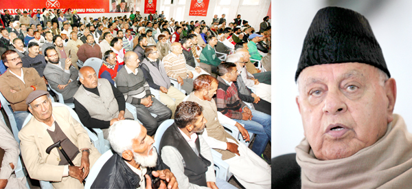 NC president Dr Farooq Abdullah addressing a function at Sher-i-Kashmir Bhawan in Jammu on Saturday. 	-Excelsior/Rakesh