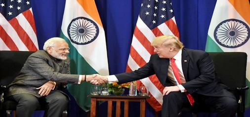 Prime Minister Narendra Modi meeting President of United States of America Donald Trump in Manila, Philippines on Monday. (UNI)