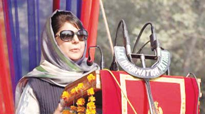 Chief Minister Mehbooba Mufti addressing Passing Out Parade at PTC in Kathua on Wednesday. —Excelsior/Pardeep