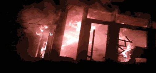 BJP leader Farooq Ahmad Rather's house set on fire by unknown persons in Dangarpora area of Sopore in Baramulla, district.