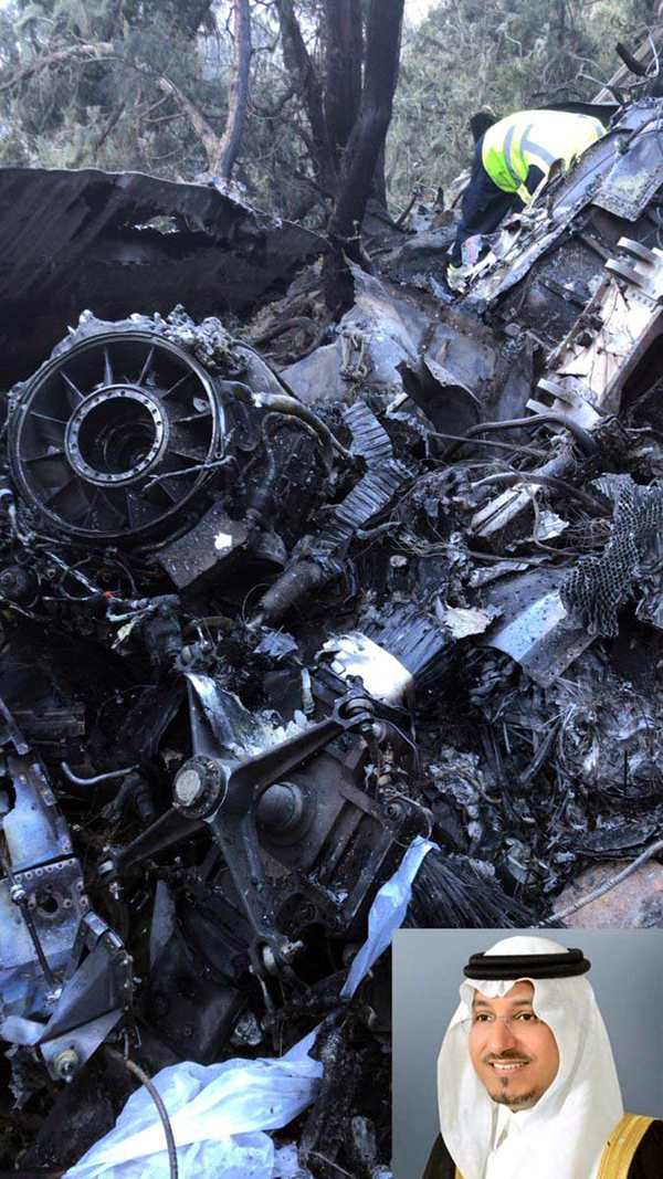 Wreckage at the site of air crash. (Inset) Prince Mansour.