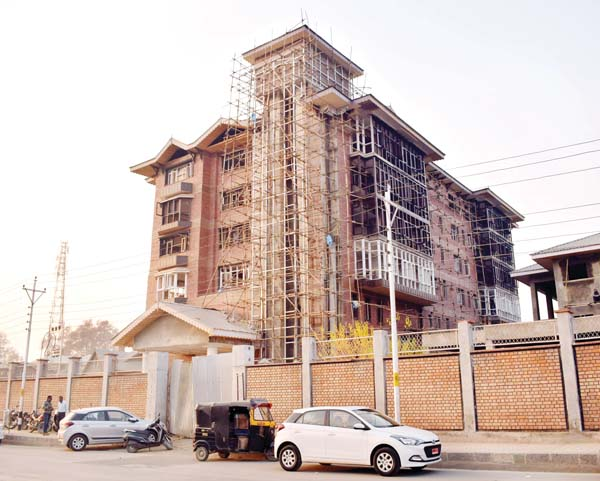 A view of under construction SPS Library in Srinagar. —Excelsior/Shakeel