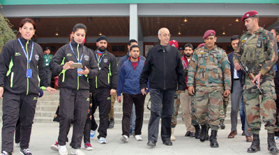 MS Dhoni during his visit to DPS, Srinagar on Tuesday. — Excelsior/Shakeel