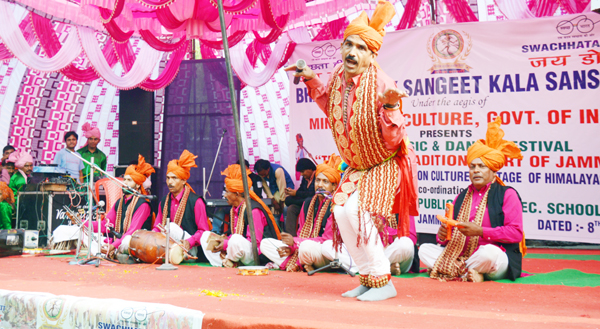 Artists performing during a mega festival on Duggar culture on Wednesday.