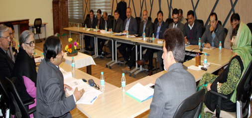 Chief Minister Mehbooba Mufti reviewing power and water supply position in Srinagar on Sunday.