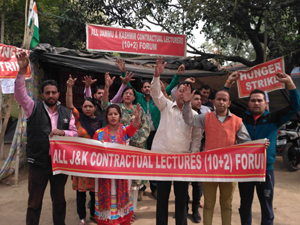 Contractual Lecturers protesting for their regularization on Friday.