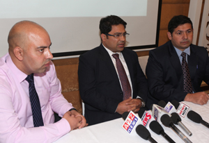 Doctors from Fortis Escorts, New Delhi addressing media persons during the launch of OPD services in Jammu.