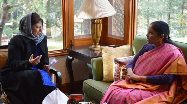 Chief Minister Mehbooba Mufti in a meeting with Defence Minister Nirmala Sitharaman at Pahalgam on Sunday.