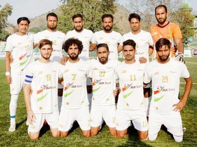 J&K Bank Football team after emerging victorious in Premier League in Srinagar.