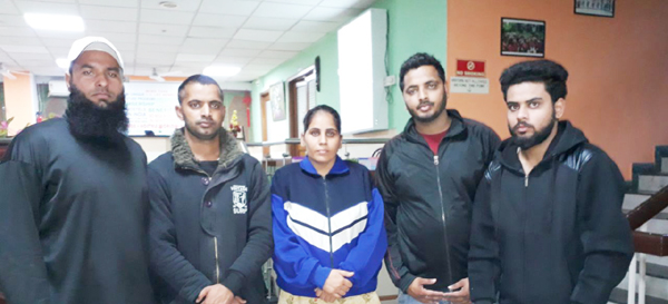 Five J&K Tug of War players posing for a photograph before leaving for International Referees workshop.