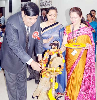 Chief Secretary B B Vyas and other dignitaries lighting the ceremonial lamp during 'My India My Pride' Week at British International School in Jammu.