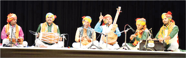 Artists performing during inaugural day of 'Bhakti Utsav' at SMVDU, Katra.