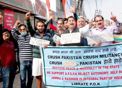 JWAM activists raising slogans during protest at Jammu on Sunday.
