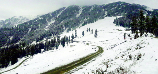 A view of tourist destination Gurdanda in upper reaches of Bhaderwah on Friday, after  season's first snowfall. (UNI)