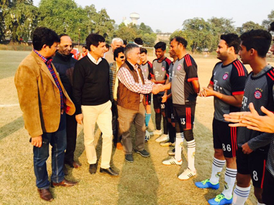 Dignitaries interacting with footballers in Jammu on Wednesday.