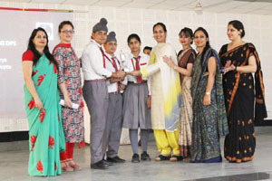 Winners of Debate Competition being felicitated by the dignitaries in Jammu.