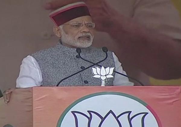 Prime Minister Narendra Modi addressing an election rally at Sundernagar in Himachal Pradesh on Saturday.