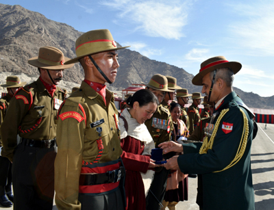 Young soldiers being inducted in Ladakh Scouts Regiment at Leh on Saturday. -Excelsior/Morup Stanzin