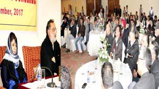 Chief Minister Mehbooba Mufti addressing industrialists at Srinagar on Monday.