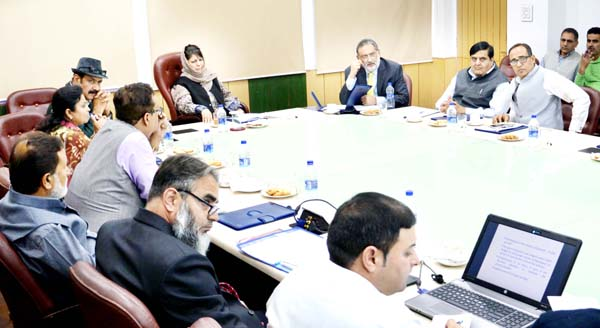 Chief Minister Mehbooba Mufti chairing a meeting to review the implementation of various schemes in horticulture sector at Jammu on Tuesday.