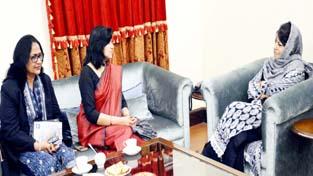 Joint Secretary (MGNREGA) Aparajita Sarangi calling on Chief Minister Mehbooba Mufti at Jammu on Thursday.