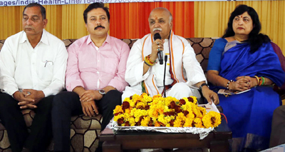 VHP International Working President Dr Parveen Bhai Togadia during the launch of India Health Line at Jammu on Sunday. — Excelsior/Rakesh