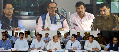 Deputy Chief Minister Dr Nirmal Singh chairing a meeting on Saturday.