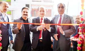 Executive President J&K Bank SS Sehgal inaugurating cluster premises of bank at Doda.
