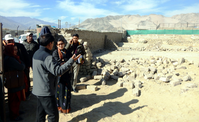 DC Leh and other officers during anti-encroachment operation in Leh on Saturday. -Excelsior/Morup Stanzin