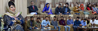 Chief Minister Mehbooba Mufti interacting with media students at Jammu on Saturday.