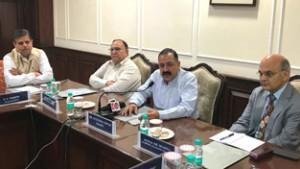 Dr Jitendra convenes meeting  of IAS officers from J&K