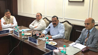 Union Minister Dr Jitendra Singh convening a meeting of J&K cadre IAS and other All India Service officers, currently on Central deputation in Government of India, at New Delhi on Thursday.