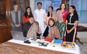 NC president Dr Farooq Abdullah, son Omar Abdullah, daughter Sara Abdullah Pilot and others at an exhibition of Kashmiri Pashmina Shawls in New Delhi.