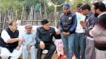 NC President Dr Farooq Abdullah during his visit to martyr Sohanlal's residence at Nagrota on Friday.