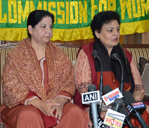Chairperson, National Women Commission Rekha Sharma addressing press conference on Friday.