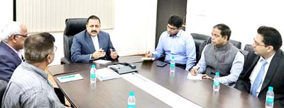 """Union Minister Dr Jitendra Singh being briefed about the current status of India's first-ever """"Air Dispensary"""" service to be introduced in Northeast, at New Delhi on Sunday."""