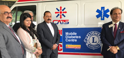 """Union Minister Dr Jitendra Singh at the launching of """"Mobile Diabetes Center"""" on the eve of """"World Diabetes Day"""", at Hotel Taj Palace, New Delhi on Monday."""