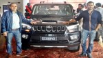 Officials of Astro India Private Limited during the launch of new generation Scorpio at Jammu.