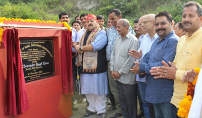 NC provincial president Devender Singh Rana laying foundation stone of Sulabh Sochaliya on Saturday.